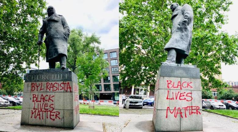 Вандали надраскаха статуята на Чърчил в Прага